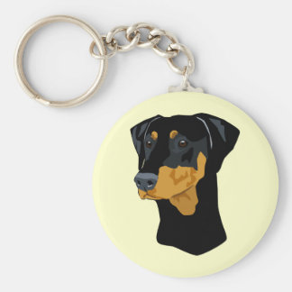 Doberman Head, Black, Uncropped Basic Round Button Key Ring