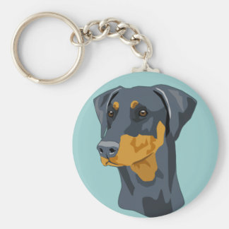 Doberman Head, Blue, Uncropped Basic Round Button Key Ring