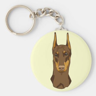 Doberman Head, Red Basic Round Button Key Ring