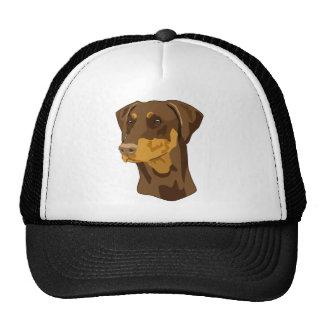 Doberman Head, Red, Uncropped Hats