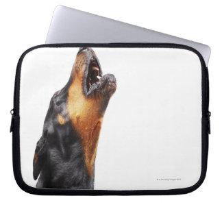 Doberman howling computer sleeves