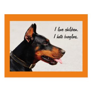 """Doberman """"I hate burglars"""" dog postcard"""