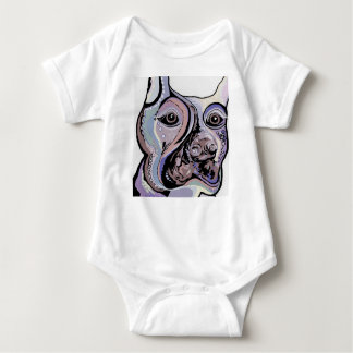 Doberman in Denim Colors Baby Bodysuit