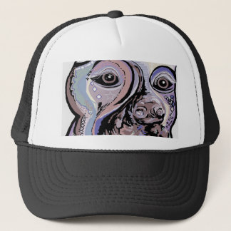 Doberman in Denim Colors Trucker Hat