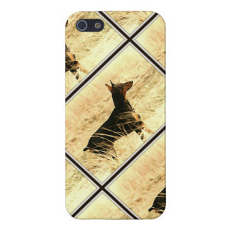 Doberman in Dry Reeds Painting Image Case For The iPhone 5