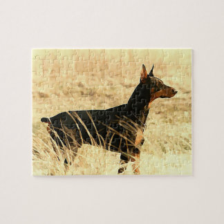 Doberman in Dry Reeds Painting Image Jigsaw Puzzle