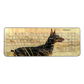 Doberman in Dry Reeds Painting Image Wireless Keyboard