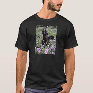 Doberman in Flower Patch T-Shirt