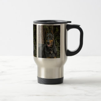 Doberman in Forest Travel Mug
