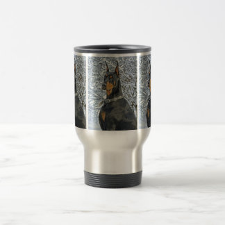 Doberman in Fosty Snow Travel Mug