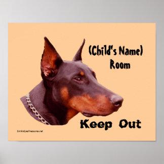Doberman Keep Out Kids Room Personalised Poster