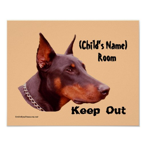 Doberman Keep Out Kids Room Personalized Poster