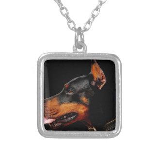 Doberman Pet Dog Silver Plated Necklace