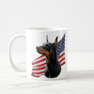Doberman Pinscher and Flag Mug