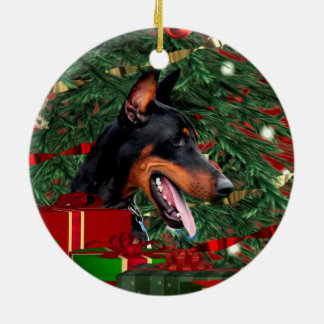 Doberman Pinscher Christmas Ceramic Ornament