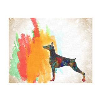 Doberman Pinscher Dog Impressionist Dobie Painting Canvas Print