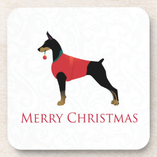 Doberman Pinscher Dog Merry Christmas Design Beverage Coasters