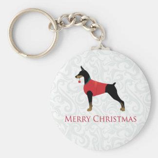 Doberman Pinscher Dog Merry Christmas Design Key Chains