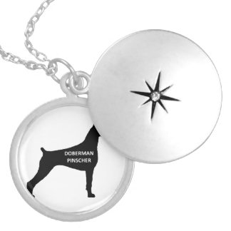 doberman pinscher name silo black.png silver plated necklace