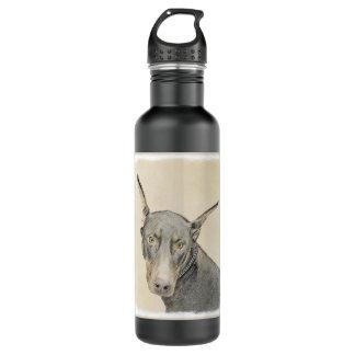 Doberman Pinscher Painting - Original Dog Art 710 Ml Water Bottle
