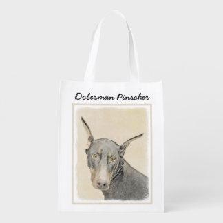 Doberman Pinscher Painting - Original Dog Art Reusable Grocery Bag
