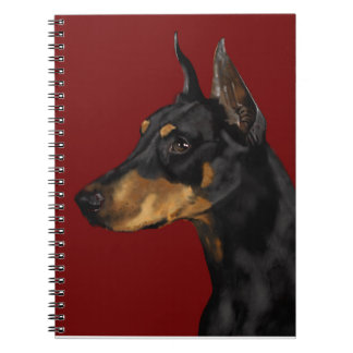 Doberman Pinscher Portrait, Art Print, Doberman Ar Notebooks