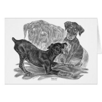 Doberman Pinscher Pups Drawing by Kelli Swan Card