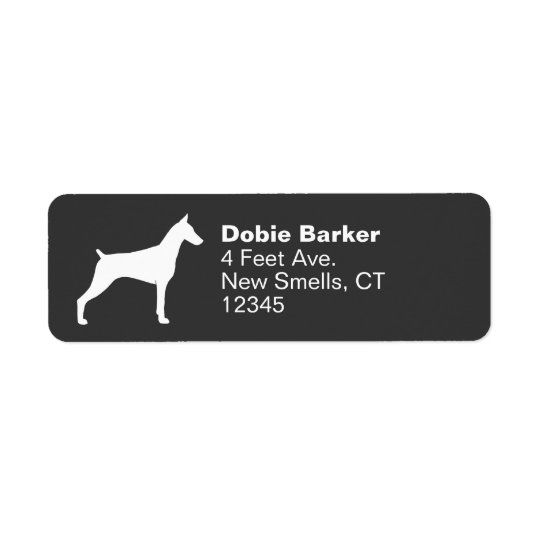 Doberman Pinscher Silhouette Return Address Label