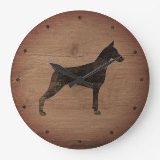 Doberman Pinscher Silhouette Rustic Style Large Clock