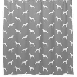 Doberman Pinscher Silhouettes Pattern Grey Shower Curtain