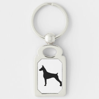 doberman pinscher silo black.png Silver-Colored rectangle key ring