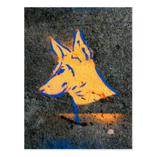 Doberman Pinscher Stencil Graffiti Postcard