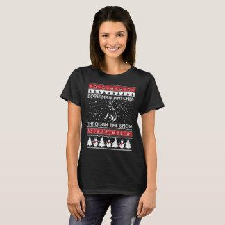 Doberman Pinscher Through The Snow T-shirt