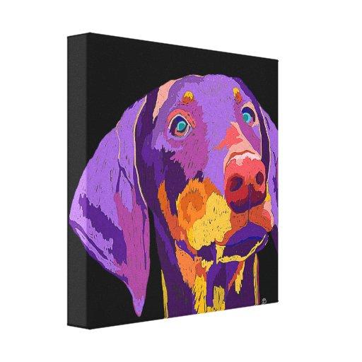 Doberman puppy art stretched canvas print
