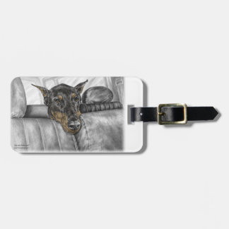 Doberman Riding in Car Luggage Tag