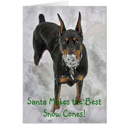 Doberman Santa Makes Best Snow Cones Hoiday Card