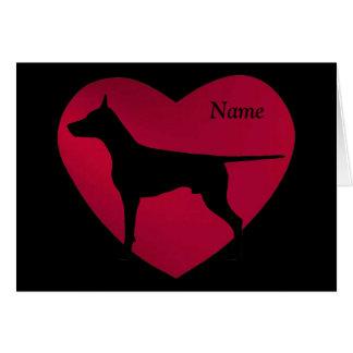 Doberman Silhouette in Red Heart Card