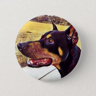 Doberman Swirl Paint 2 6 Cm Round Badge
