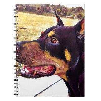 Doberman Swirl Paint 2 Notebooks