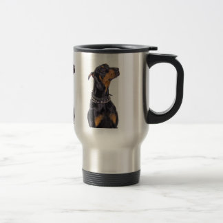 Doberman With Sneaky Look Travel Mug
