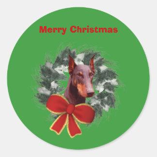 Doberman Wreath Christmas Holiday Sticker Label