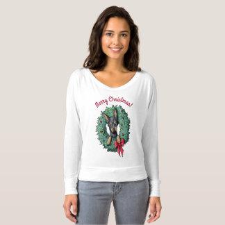 Doberman Wreath Wrangler T-Shirt