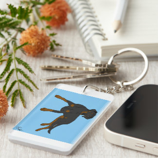 Dobermann Keyring by DogDesign Double-Sided Rectangular Acrylic Key Ring