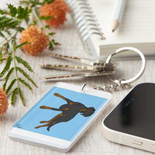 Dobermann Keyring by DogDesign Keychain
