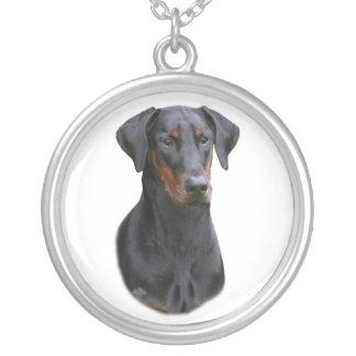 Dobermann Pinscher head-black natural ear necklace