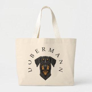 Dobermann Portrait Tote Bags