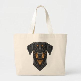 Dobermann Portrait Jumbo Tote Bag