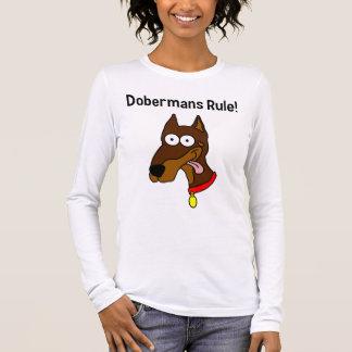 """Dobermans Rule!"" Red Doberman Womens Long Sleeve T-Shirt"