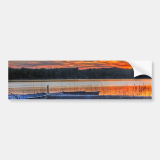 Dock and Rowboat Sunset Bumper Sticker