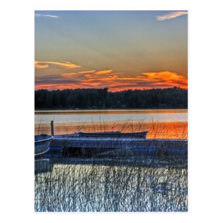 Dock and Rowboat Sunset Postcard
